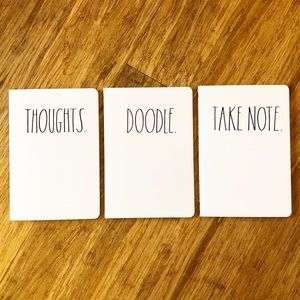 NWT Rae Dunn Bundle of 3 white Notebooks Fun gift!